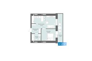 ЖК West Towers: планировка 1-комнатной квартиры 37.07 м²