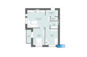 ЖК West Towers: планировка 2-комнатной квартиры 63.88 м²