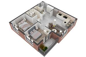 ЖК West Towers: планування 2-кімнатної квартири 58.63 м²