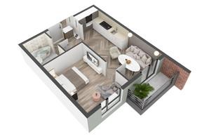 ЖК West Towers: планування 1-кімнатної квартири 36.77 м²
