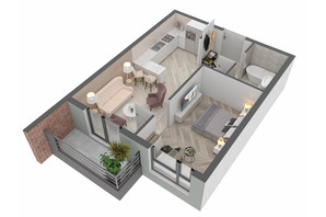 ЖК West Towers: планування 1-кімнатної квартири 40.72 м²