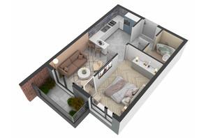 ЖК West Towers: планування 1-кімнатної квартири 34.81 м²