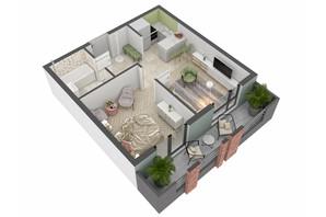 ЖК West Towers: планування 1-кімнатної квартири 37.07 м²
