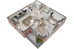 ЖК West Towers: планування 2-кімнатної квартири 61.04 м²