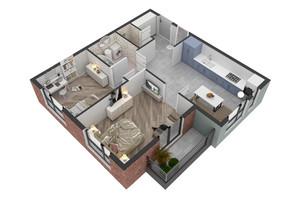 ЖК West Towers: планування 2-кімнатної квартири 56.81 м²