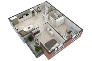 ЖК West Towers: планування 2-кімнатної квартири 63.88 м²