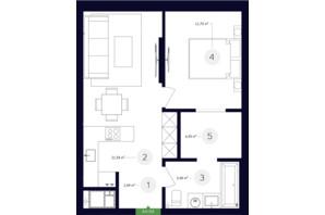 ЖК White Lines: планировка 1-комнатной квартиры 45.89 м²