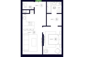 ЖК White Lines: планировка 1-комнатной квартиры 48.03 м²