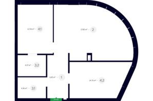 ЖК White Lines: планування 2-кімнатної квартири 70.81 м²
