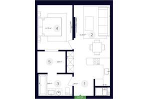 ЖК White Lines (Вайт Лайнс): планировка 1-комнатной квартиры 45.89 м²