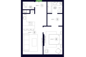 ЖК White Lines (Вайт Лайнс): планировка 1-комнатной квартиры 48.03 м²