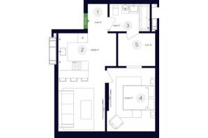 ЖК White Lines (Вайт Лайнс): планування 2-кімнатної квартири 113.43 м²
