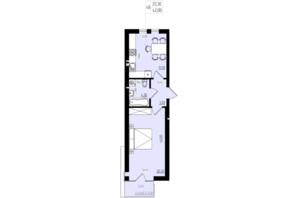 ЖК White and Wood: планировка 1-комнатной квартиры 42 м²