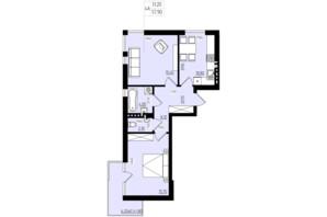 ЖК White and Wood: планировка 2-комнатной квартиры 57.9 м²