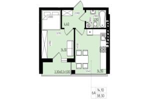 ЖК White and Wood: планировка 1-комнатной квартиры 38.3 м²