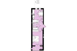 ЖК White and Wood: планировка 1-комнатной квартиры 40.3 м²