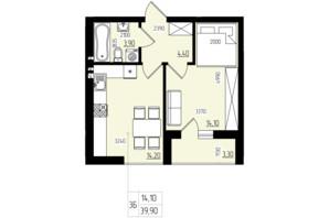 ЖК White and Wood: планировка 1-комнатной квартиры 39.9 м²