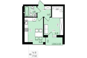 ЖК White and Wood: планировка 1-комнатной квартиры 37.6 м²