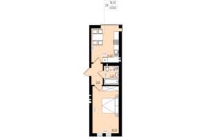 ЖК White and Wood: планировка 1-комнатной квартиры 40.6 м²
