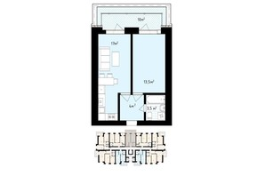ЖК White house: планування 1-кімнатної квартири 48 м²