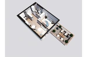 ЖК Янтарный: планировка 1-комнатной квартиры 47.05 м²