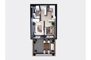 ЖК Янтарный: планировка 1-комнатной квартиры 52.93 м²