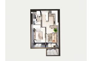 ЖК Янтарный: планировка 1-комнатной квартиры 46.35 м²