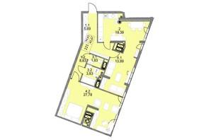 ЖК Яркий Львов: планировка 2-комнатной квартиры 94.3 м²
