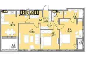 ЖК Яркий Львов: планировка 3-комнатной квартиры 105 м²