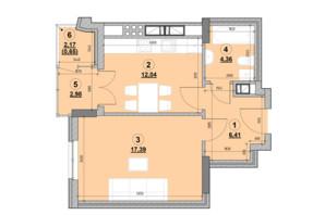 ЖК Ярославенко: планировка 1-комнатной квартиры 43.82 м²