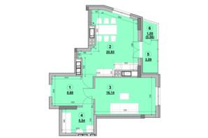 ЖК Ярославенко: планировка 1-комнатной квартиры 55.44 м²