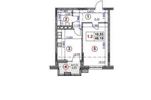 ЖК Ярославів Град: планування 1-кімнатної квартири 48.2 м²