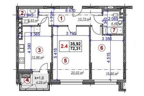 ЖК Ярославов Град: планировка 2-комнатной квартиры 72.31 м²