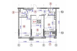 ЖК Ярославов Град: планировка 2-комнатной квартиры 73.3 м²
