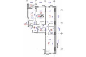 ЖК Ярославов Град: планировка 3-комнатной квартиры 104.09 м²
