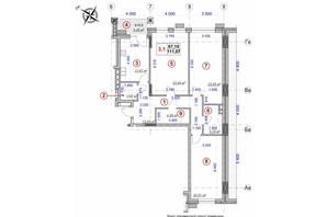 ЖК Ярославов Град: планировка 3-комнатной квартиры 111.07 м²