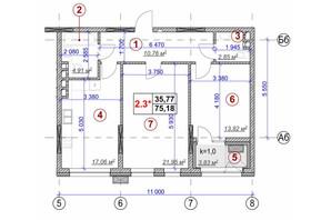 ЖК Ярославов Град: планировка 2-комнатной квартиры 75.18 м²