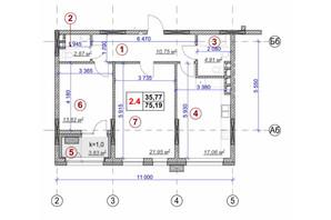 ЖК Ярославов Град: планировка 2-комнатной квартиры 75.19 м²