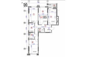 ЖК Ярославов Град: планировка 3-комнатной квартиры 106.07 м²