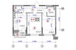 ЖК Ярославов Град: планировка 2-комнатной квартиры 70.16 м²