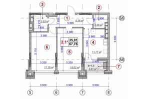ЖК Ярославов Град: планировка 2-комнатной квартиры 67.76 м²