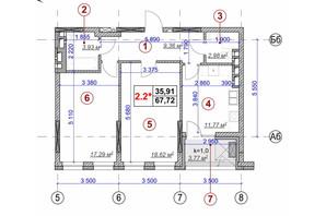 ЖК Ярославов Град: планировка 2-комнатной квартиры 67.72 м²