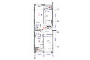 ЖК Ярославов Град: планировка 3-комнатной квартиры 105.71 м²