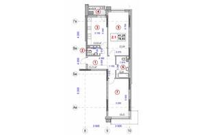 ЖК Ярославов Град: планировка 2-комнатной квартиры 76.93 м²