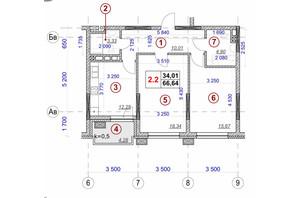 ЖК Ярославов Град: планировка 2-комнатной квартиры 66.64 м²