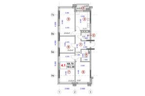 ЖК Ярославов Град: планировка 4-комнатной квартиры 103.39 м²