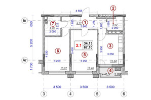 ЖК Ярославов Град: планировка 2-комнатной квартиры 67.1 м²