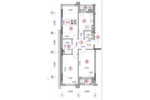 ЖК Ярославов Град: планировка 3-комнатной квартиры 96.72 м²