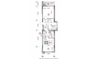 ЖК Ярославов Град: планировка 2-комнатной квартиры 70.29 м²