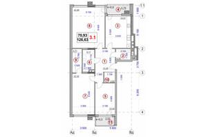 ЖК Ярославов Град: планировка 3-комнатной квартиры 126.63 м²